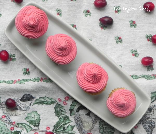 Mini Apple Cupcakes with Cranberry Buttercream | thepajamachef.com