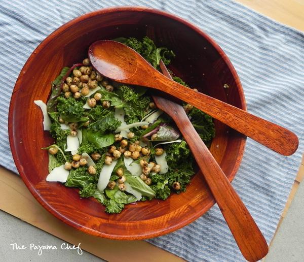 Caesar Salad with Fried Chickpeas | thepajamachef.com #TripleSBItes