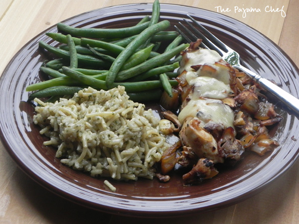 Cheesy Molasses Chicken with Mushrooms and Homemade Rice a Roni Mix | thepajamachef.com