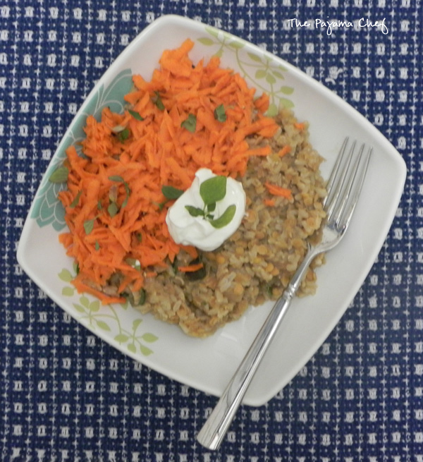 Mediterranean Lentils and Rice with Carrot Slaw | thepajamachef.com