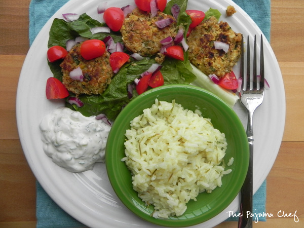 Falafel, Tzatziki, and Greek Lemon Rice | thepajamachef.com #SRC #vegetarian