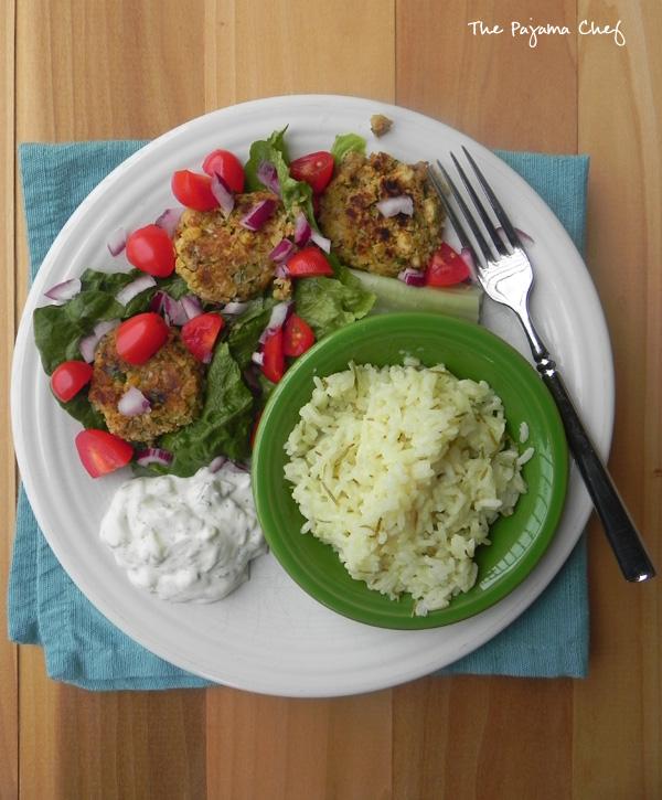 Falafel, Tzatziki, and Greek Lemon Rice | thepajamachef.com #SRC #vegetarian