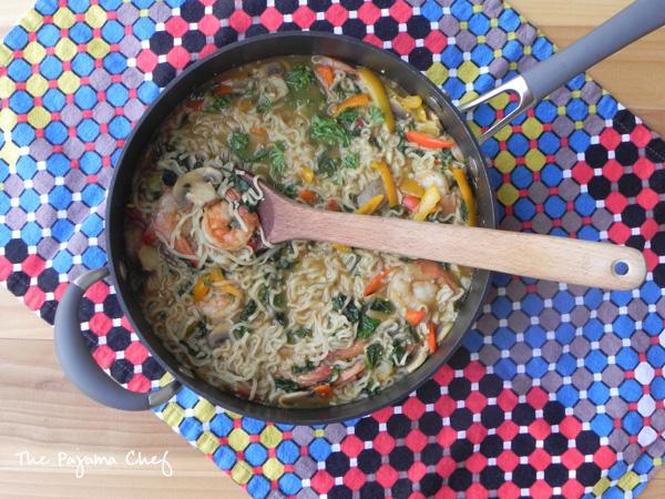 Sesame Ginger Shrimp Ramen Noodles | thepajamachef.com #MysteryDish #HealthySolutionsBloggerRecipeChallenge