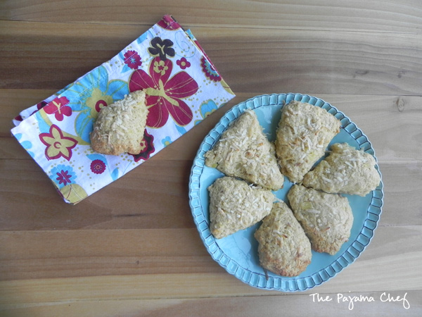 Pineapple Scones... a tropical treat with crunchy cashews, smooth coconut, and sweet pineapple in every bite! Find the recipe on thepajamachef.com