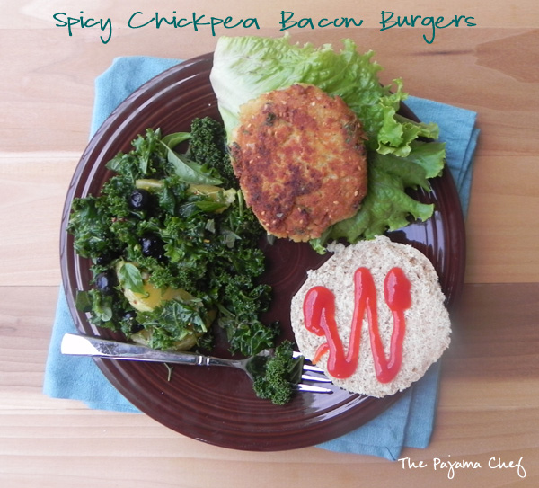 Spicy Chickpea Bacon Burgers | thepajamachef.com