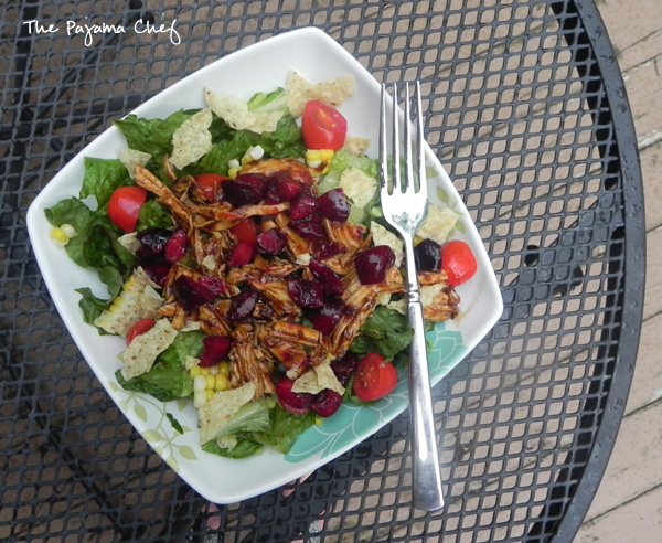 Cherry Chipotle Chicken Salad with Cherry Lime Salsa for #HotSummerEats | thepajamachef.com #salad #recipe #summer