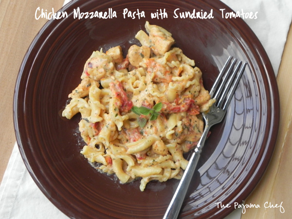 Chicken Mozzarella Pasta with Sundried Tomatoes| a creamy, flavorful weeknight pasta dish that's fancy enough for company! Find the recipe on thepajamachef.com