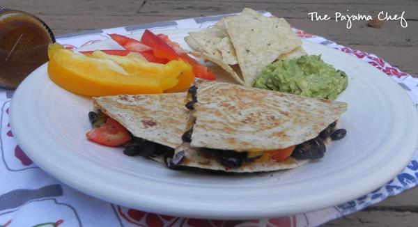 Barbecue Black Bean Quesadillas for #HotSummerEats | thepajamachef.com