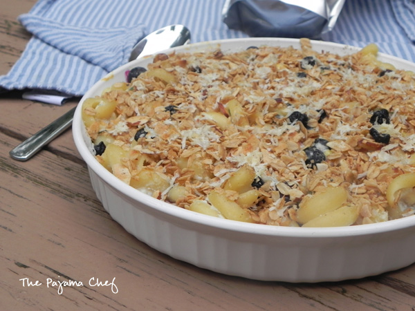 Baked Bacon-Blueberry Ricotta Pasta | an easy, cheesy baked pasta with a surprise topping! Find the recipe on thepajamachef.com