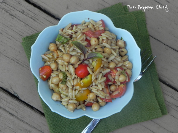 Dijon Balsamic Orzo Salad | thepajamachef.com | #summer #tomatoes #salad #secretrecipeclub #healthy