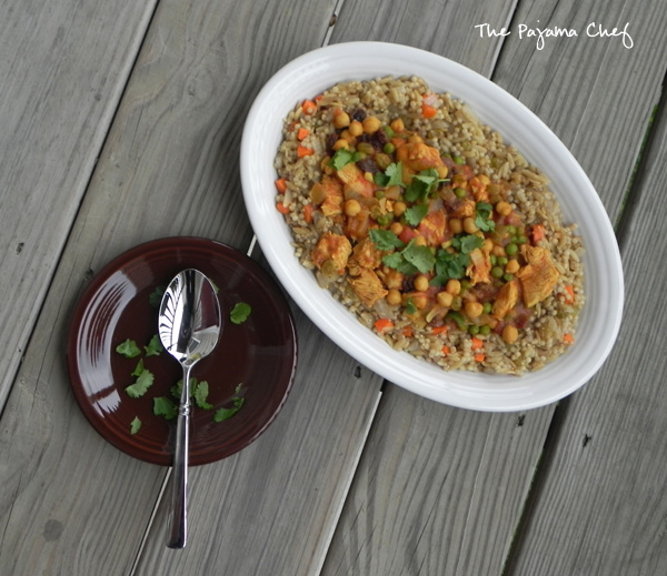 Indian-Style Chicken Curry with Chickpeas and Raisins over Spiced Couscous | thepajamachef.com #thebookclubcookbookCC