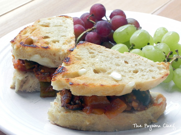 Eggplant Caponata Sandwiches | thepajamachef.com #summer #meatless #recipe