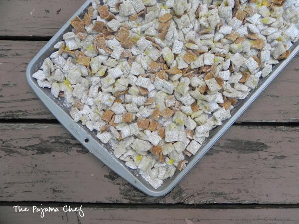 Lemon Meringue Pie Puppy Chow  - easier than pie, but just as delicious! #bookclubcookbookCC | thepajamachef.com