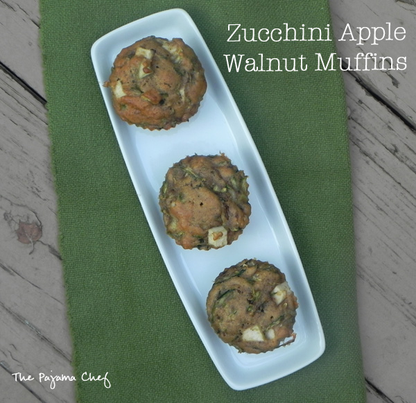 Zucchini Apple Walnut Muffins for #secretrecipeclub | find the recipe for these  healthy 'n delicious muffins on thepajamachef.com