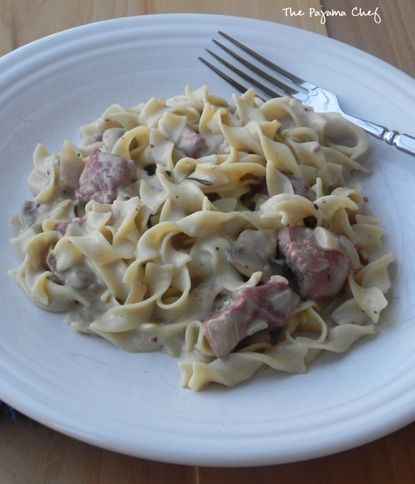 Beef Stroganoff - a hearty, creamy, delicious family dinner via thepajamachef.com #bookclubcookbookCC