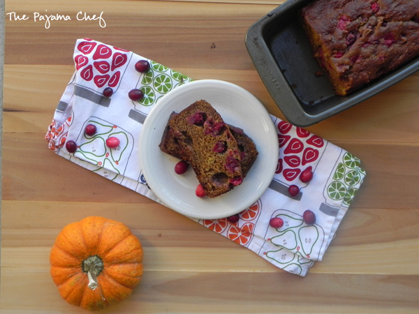 Pumpkin Cranberry Bread - this easy, healthy quick breadis the best fall treat! Recipe via thepajamachef.com