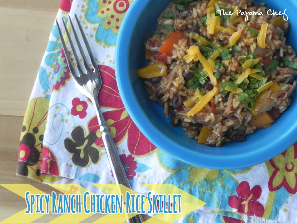 Spicy Ranch Chicken Rice Skillet: In 30 minutes you can have a deliciously wonderful dinner on the table! Take your go to easy dinner components--rice, chicken, and veggies--then toss them in a [slightly spicy] ranch sauce... and sit back and enjoy!