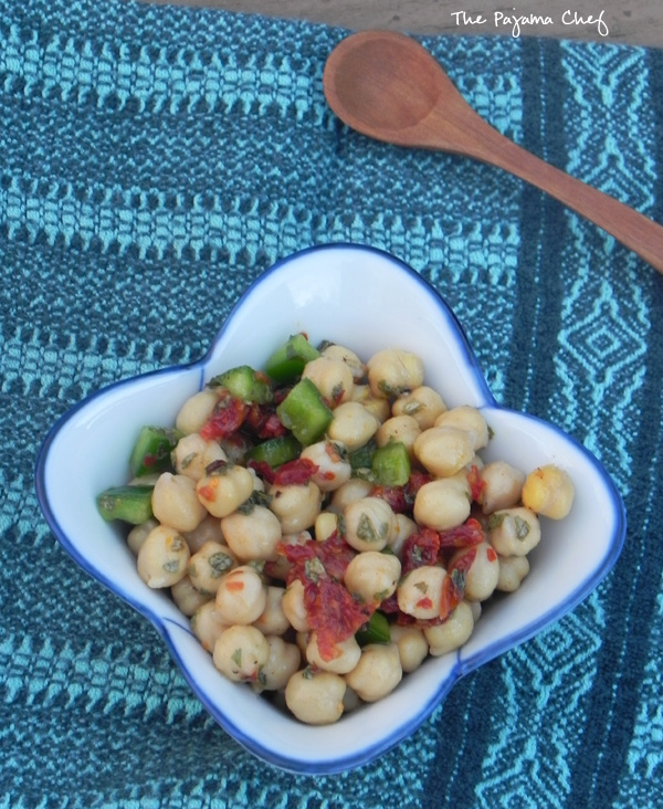 Tunisian Chickpea Salad... an easy, delicious side dish! #secretrecipeclub #src via thepajamachef.com