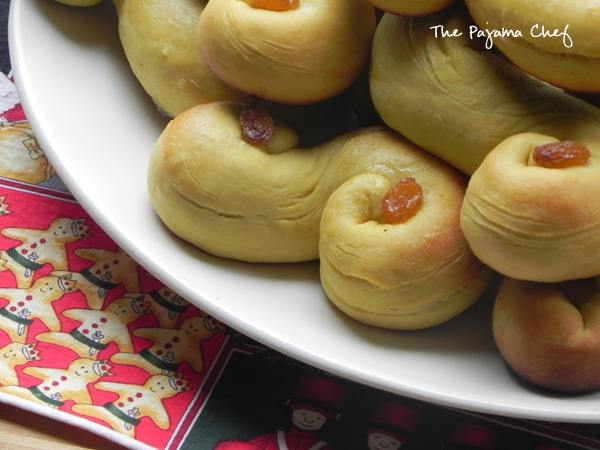 Soft, buttery yeast rolls made with saffron and golden raisins. St. Lucia Buns are a Christmas treat you do not want to miss!
