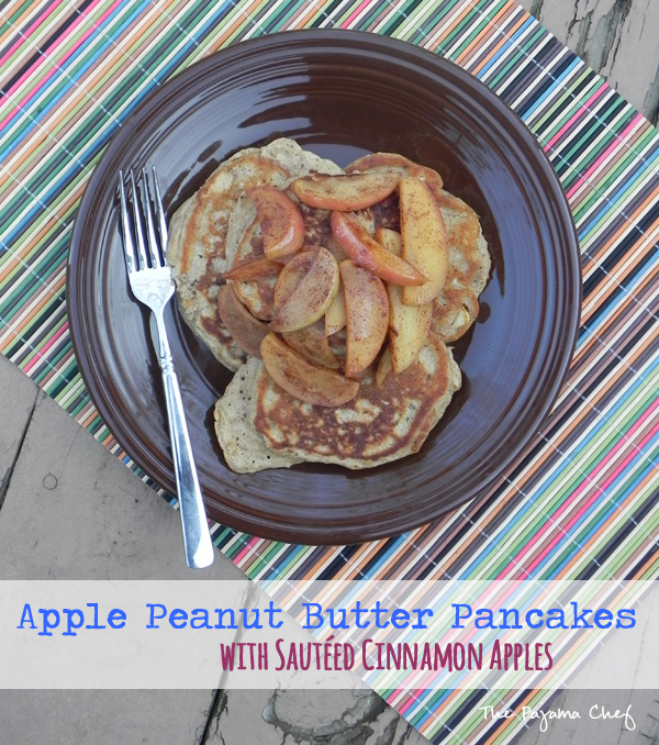 Sweet and nutty, these Apple Peanut Butter Pancakes with Sautéed Cinnamon Apples are a great way to start your day! #FreshTastyValentines