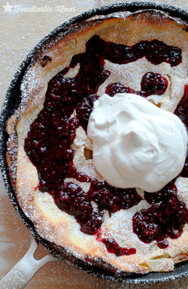 Asian Pear Dutch Baby with Blackberry Syrup