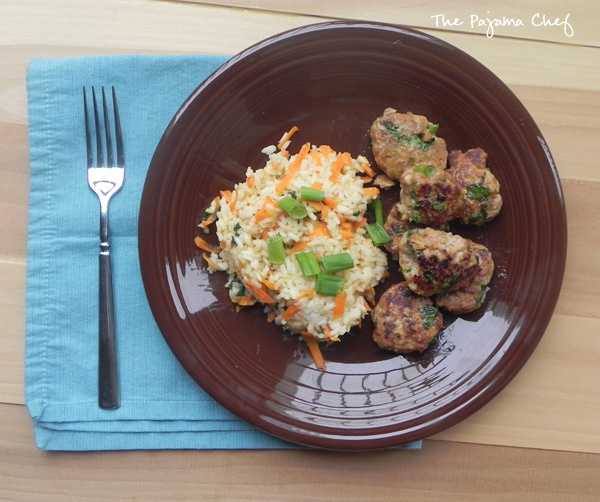 Asian Turkey Meatballs with Carrot Rice - The Pajama Chef