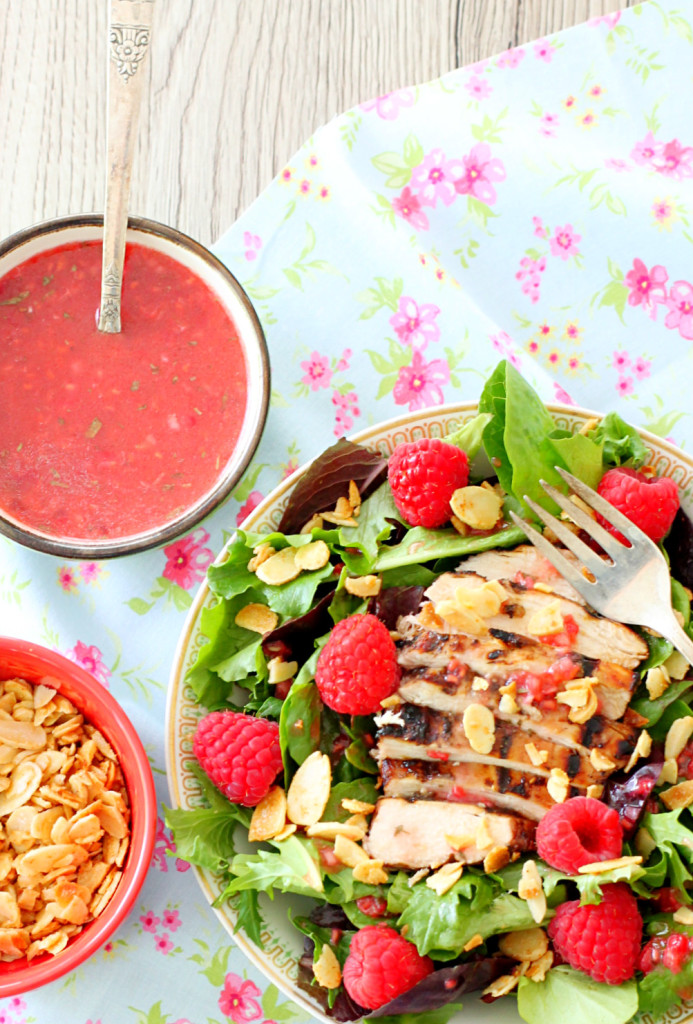 Raspberry Grilled Chicken Salad with Candied Cayenne Almonds - Foodtastic Mom