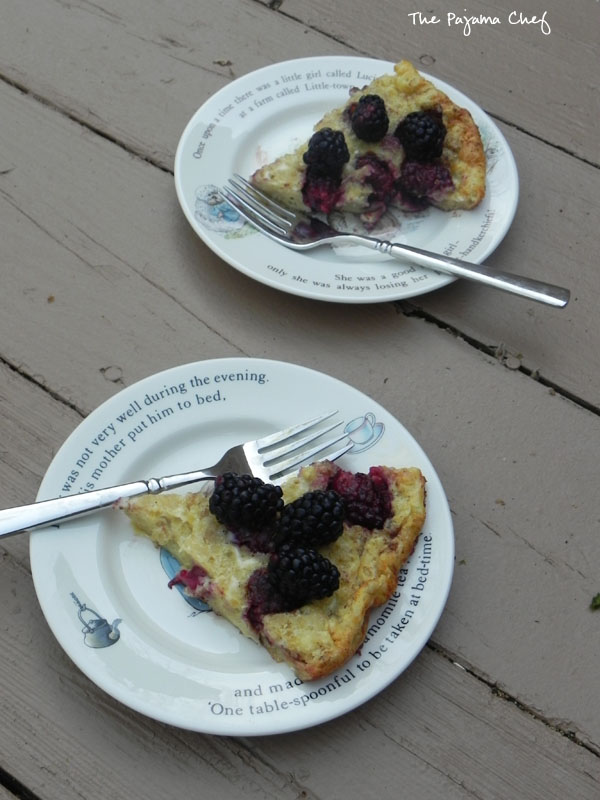 This sweet, eggy puffed pancake is stuffed full of yummy blackberries and topped off with a sweet cinnamon-maple syrup. It is the best breakfast treat!  #secretrecipeclub