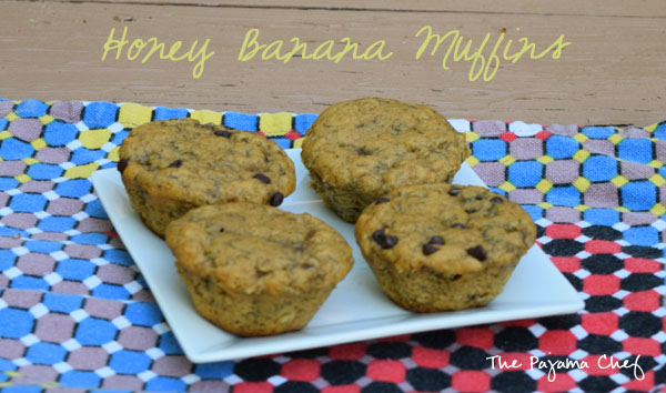 Lightly sweetened banana muffins... these muffins are a simple, wholesome treat you will want to make again and again! If you love the taste of honey in baked goods, these muffins are for you! via thepajamachef.com #secretrecipeclub