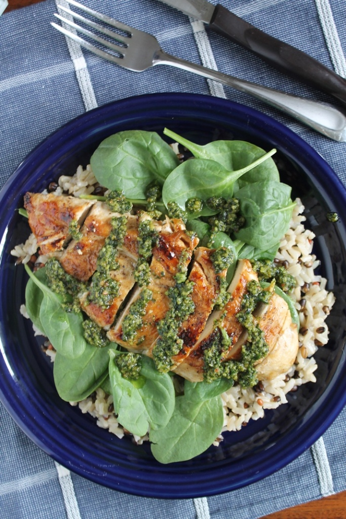 Pesto Chicken with Spinach and Wild Rice