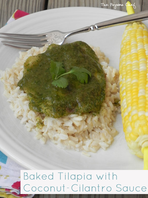 An easy baked tilapia dish jazzed up with a creamy, dreamy green sauce... this simple meal is fresh and flavorful, perfect for summer! #bookclubcookbookCC