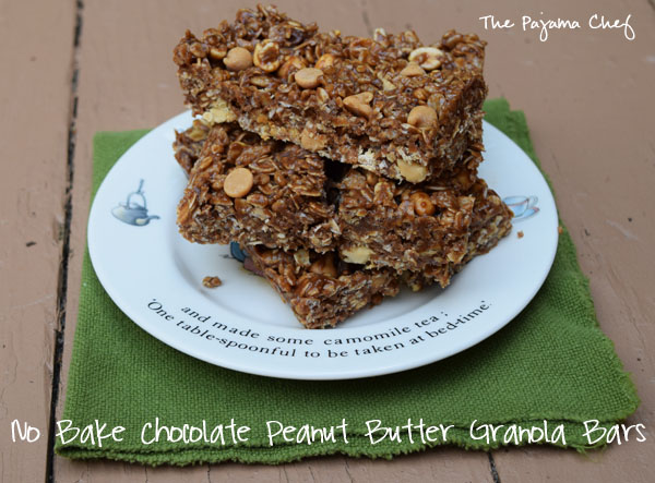 These healthy, flavorful granola bars are full of that wonderful chocolate peanut butter goodness that EVERYONE knows and loves. And they can be made in ten minutes, perfect for any busy schedule... even that of a new mama. :)