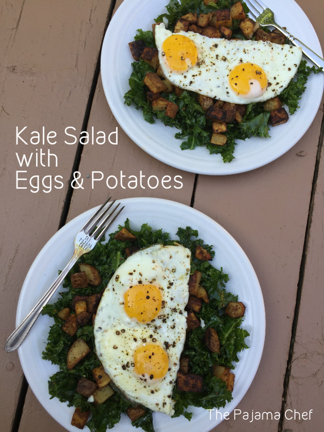This kale salad is truly awesome. I mean, adding fried eggs and fried potatoes to kale makes it awesome, even if it sounds a little weird at first. You need to try this!
