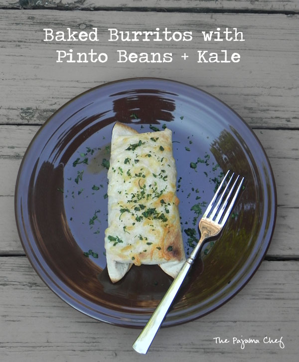 These fabulous savory bean and rice burritos are made even more delicious by the addition of hearty kale and gooey Monterey Jack cheese. You'll be sure to love them--a great family meal!