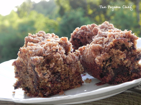 This Banana Espresso Chocolate Crumb Cake is just the thing if you want a quick dessert with plenty of delicious fruit and chocolate flavor. The crumb topping makes it extra special! #Choctoberfest
