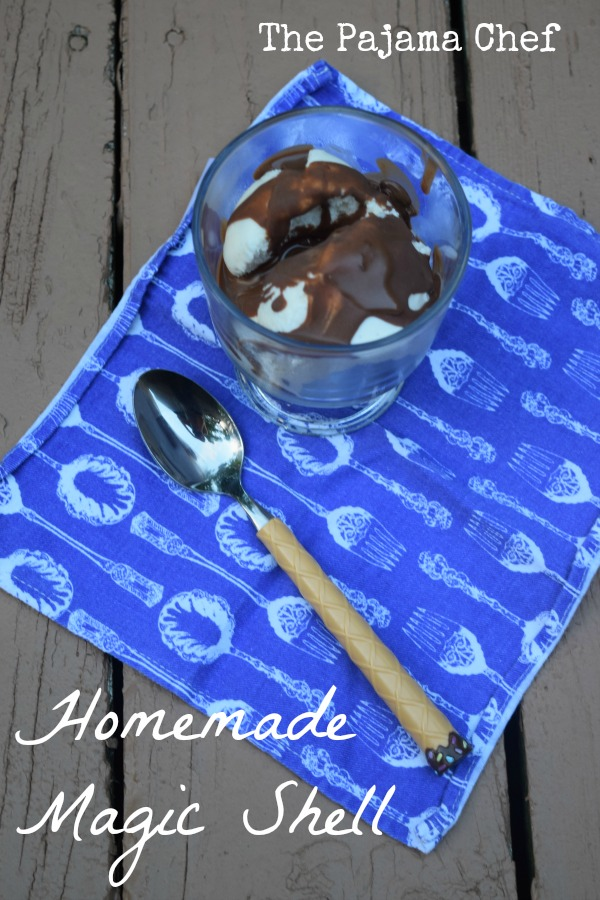 Just three ingredients and a few minutes til you have delicious, homemade magic shell... just looking for an ice cream home! :)