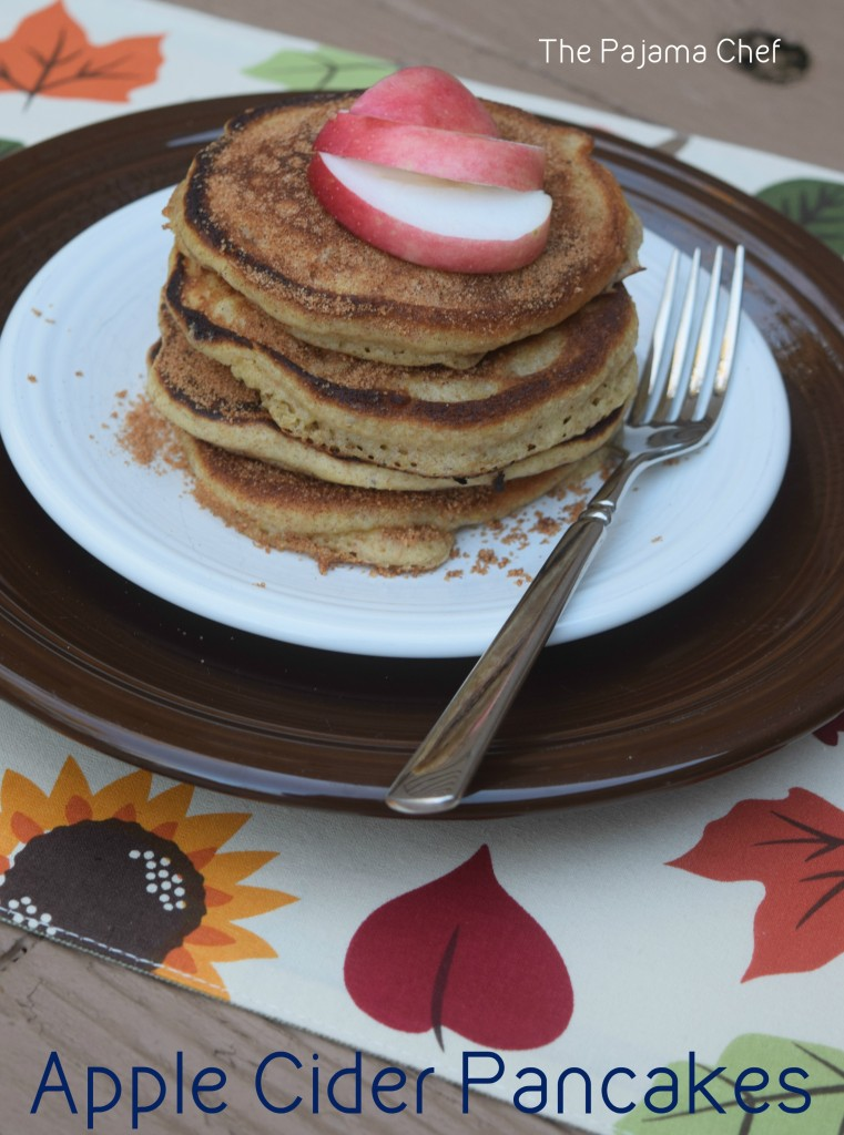 Flavorful fall pancakes--made with apple cider and topped with cinnamon sugar, these pancakes are a real treat!  #secretrecipeclub