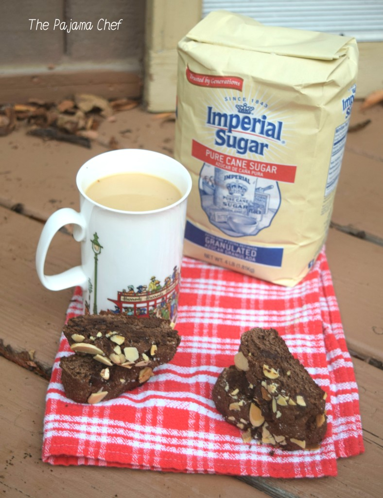 Deep, dark, rich chocolate biscotti studded with dark chocolate chunks and topped with crunchy almonds! Thank you to Imperial Sugar for providing the product used in this recipe! All opinions are my own. #sponsored #Choctoberfest