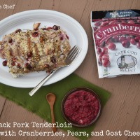 Hassleback Pork Tenderloin Stuffed with Cranberries, Pears, and Goat Cheese