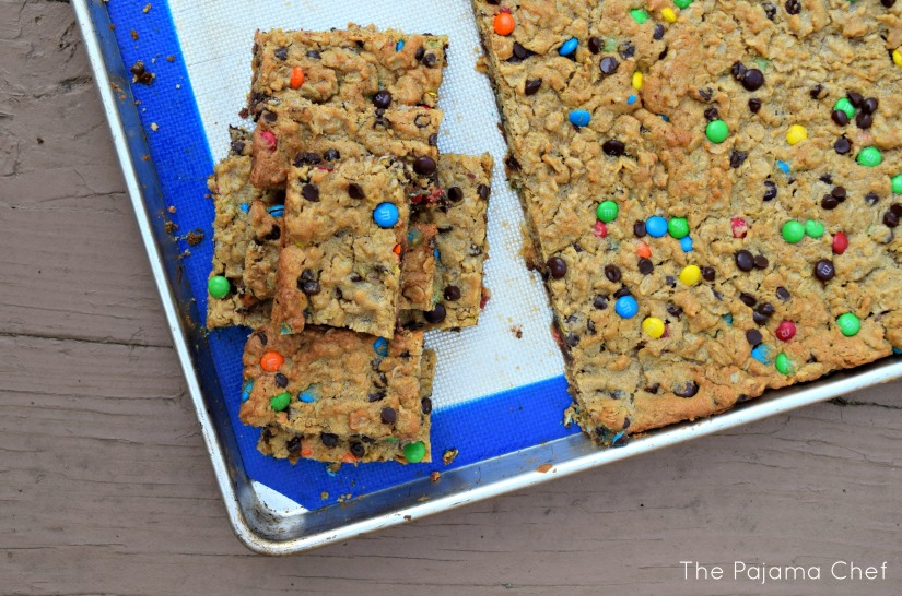 These monster cookie bars are an easy, chewy dessert that you'll enjoy all summer long! They're also a great gluten-free dessert when made with gluten-free oats so everyone will enjoy them!