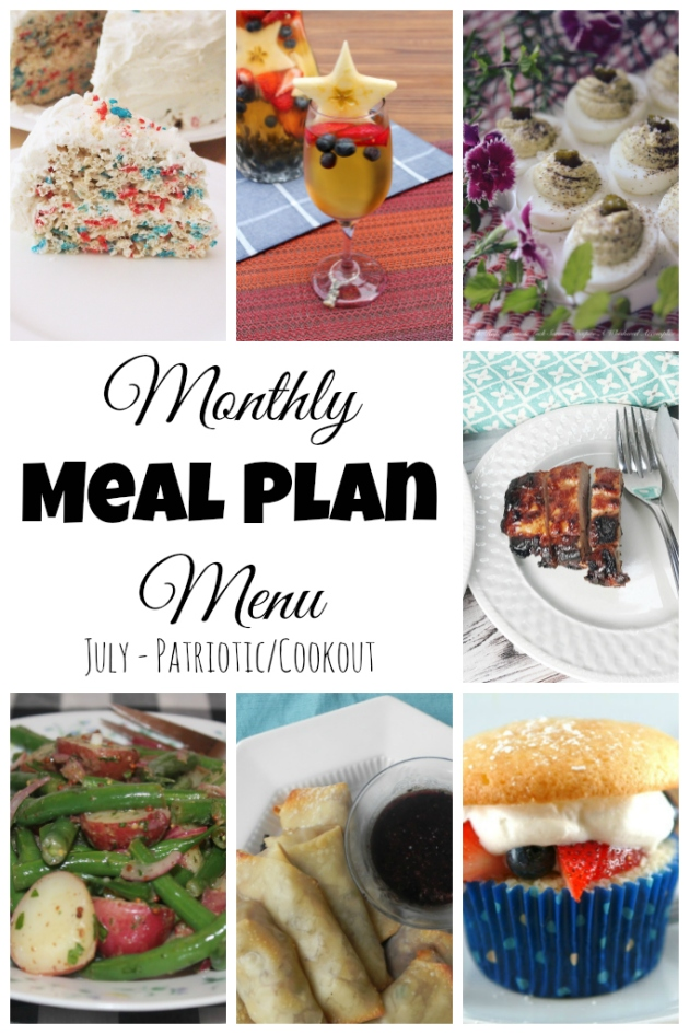 Patriotic Meal Plan for July... all things red, white, and blue!