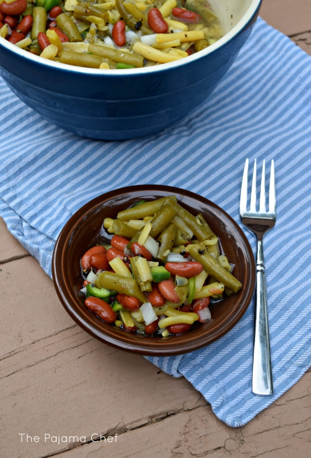 Three bean salad... a simple, classic cookout dish. I can't get enough of this make-ahead salad! #CookoutWeek2017