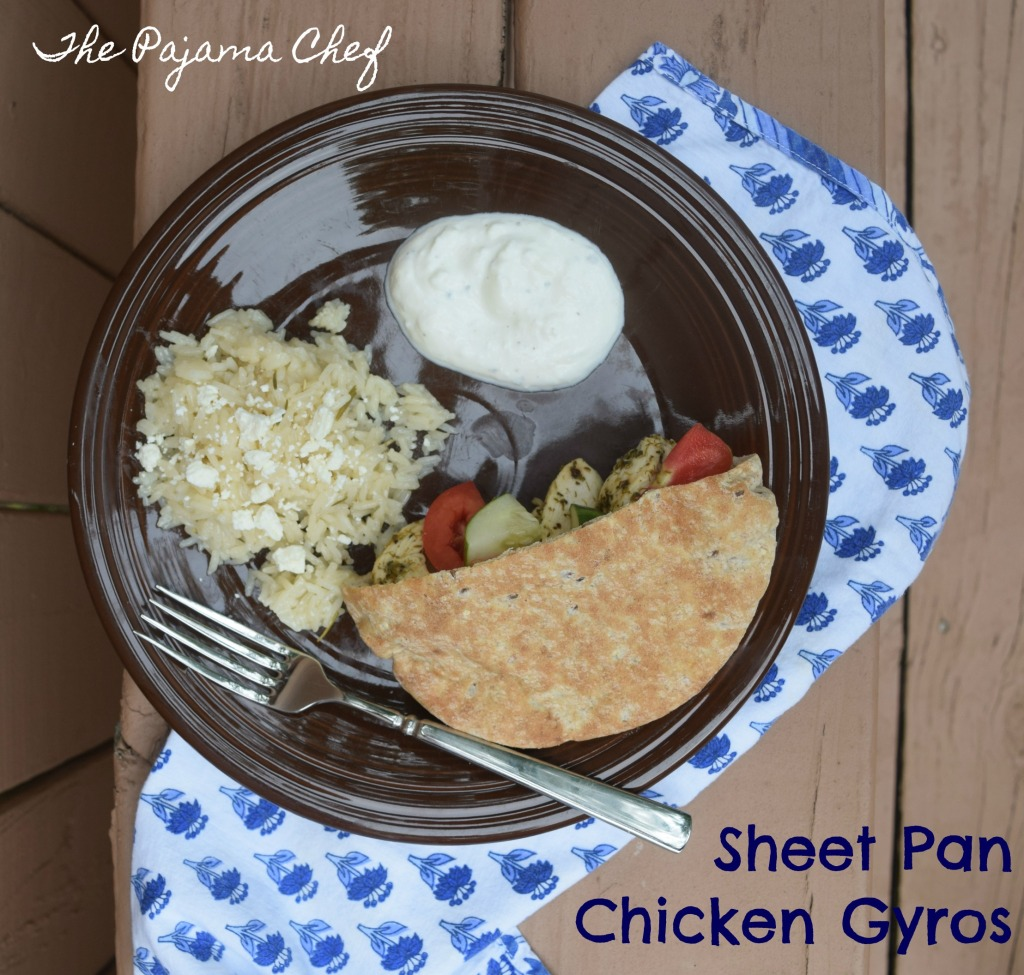 Chicken gyros--baked in the oven--are a wonderful weeknight dinner option! Lemony yogurt sauce makes these tender herbed chicken strips even more amazing. These gyros are great served with pita, rice, and lots of fresh veggies.