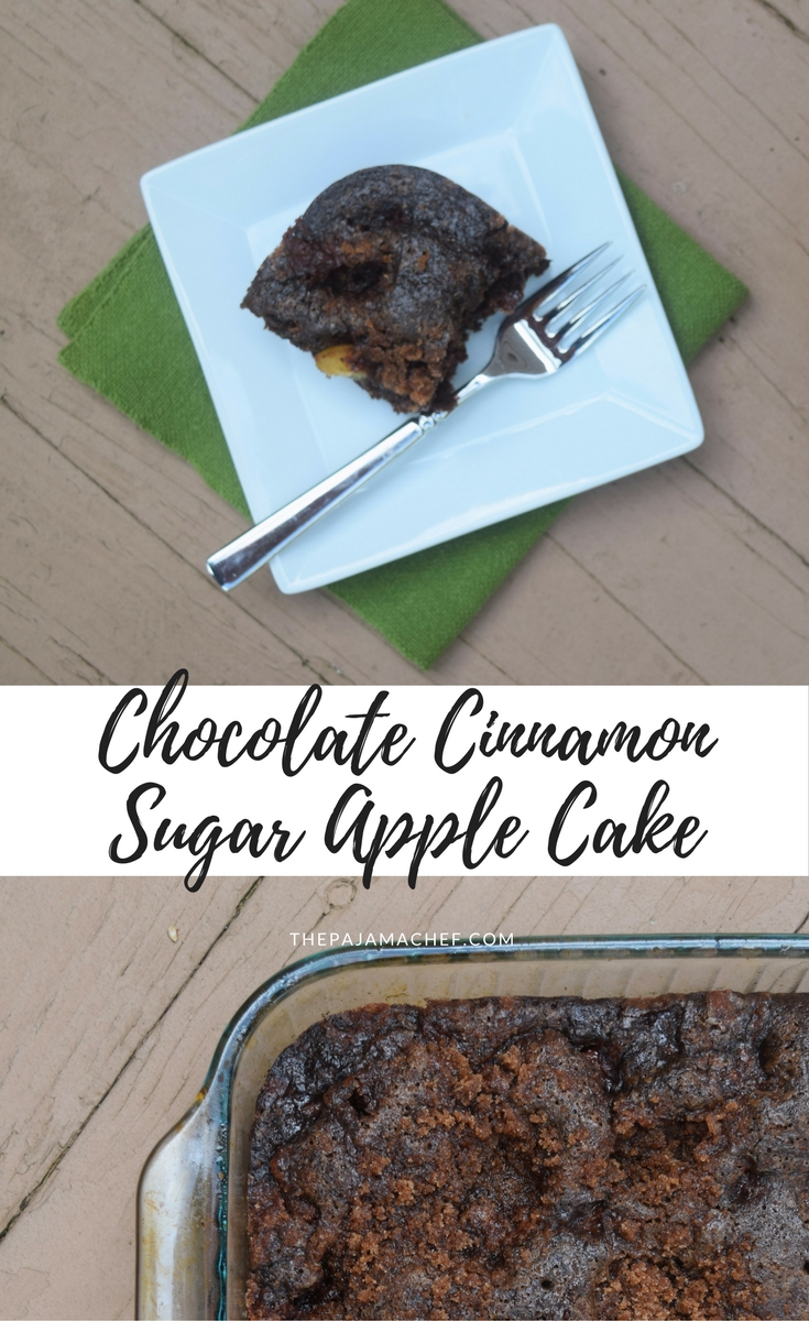 Chocolate Cinnamon Sugar Apple Cake - Sweet chocolate cake studded with fresh apples and topped with cinnamon sugar... this fall favorite is sure to please! #Choctoberfest #ImperialSugar #sponsored #ad