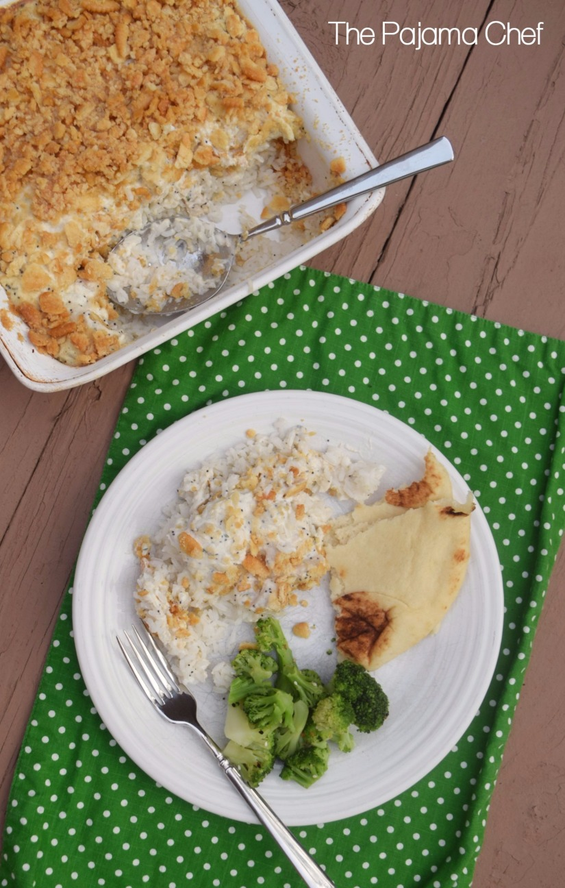 Comforting and homey, poppy seed chicken casserole is a classic--and for good reason! This makeover recipe is a *little* healthier thanks to a (simple) homemade cream of chicken soup and the addition of greek yogurt instead of all that sour cream.