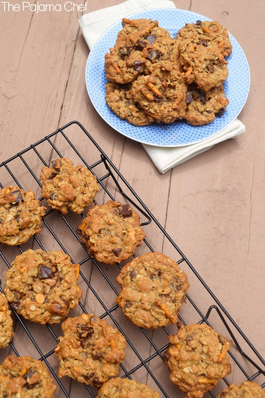 Cookies! But not just any cookies... these Soft Flourless Kitchen Sink Cookies are filled with oats, peanut butter, pretzels, butterscotch, and CHOCOLATE!  Duh. They're absolutely irresistible and a great way to cap off #Choctoberfest!