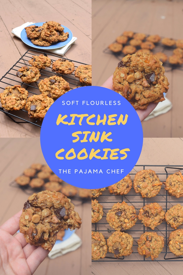 Cookies! But not just any cookies... theseSoft Flourless Kitchen Sink Cookies are filled with oats, peanut butter, pretzels, butterscotch, and CHOCOLATE! Duh. They're absolutely irresistible and a great way to cap off #Choctoberfest!