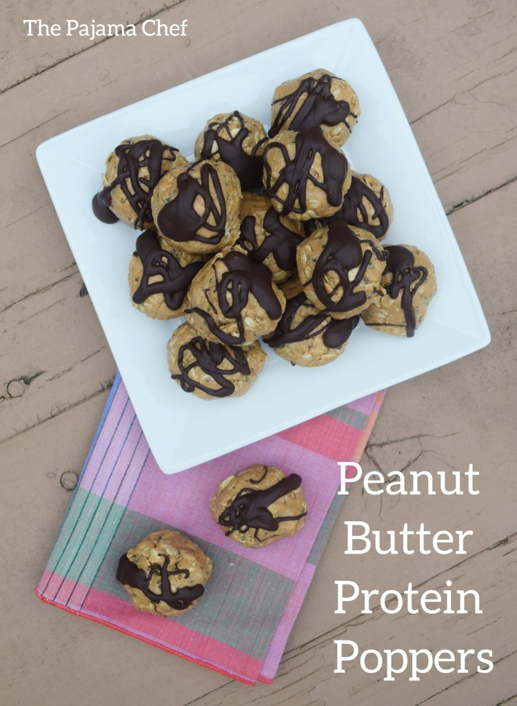 Easy and delicious, these peanut butter chocolate protein poppers are a fun healthier snack option that taste like dessert! thepajamachef.com