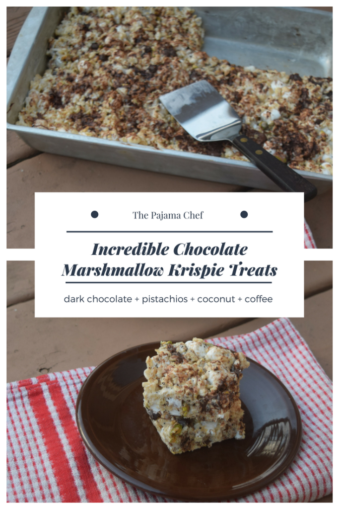 Seriously the BEST marshmallow krispie treats you've ever had. These little bars are incredible--so chocolately, so marshmallow-y, and full of fun mix-ins like coffee, pistachios, and coconut. The perfect treat for your Valentine or anyone, anytime.  #FoodBloggerLove