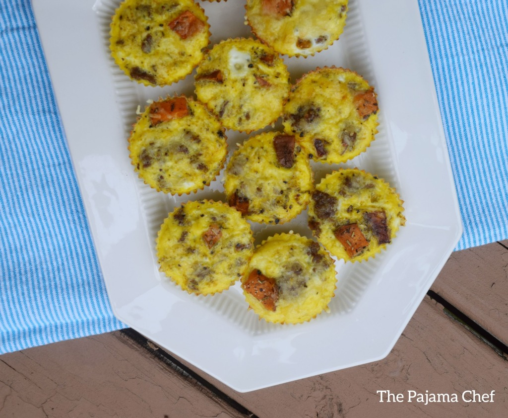 Layered sweet potato and sausage scrambled egg muffins to make your mornings better! These little treats are so flavorful and delicious. They're toddler approved and freeze great!